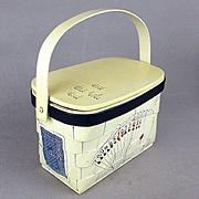 Vintage CARO-NAN Basket Handbag Purse - Playing Cards Bridge Theme