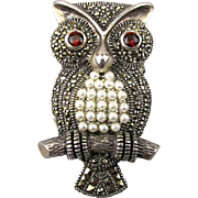 Vintage Sterling Silver Marcasite OWL Pin Brooch w/ Accents