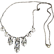 Art Deco 1930s Sterling Silver Czech Crystal Rhinestone Necklace