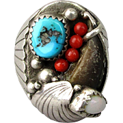 Signed Vintage Sterling Silver Navajo Ring Bear Claw Kingman Turquoise Coral Opal