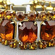 Vintage Rhinestone Bracelet - Big Topaz / Amber Color Glass Stones
