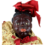 Unusual 1950s Signed Black Americana Doll 14 Inches Great Clothes Pouting Pose