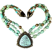 Vintage Jay Feinberg Strongwater Turquoise / Bronze Bead Necklace 3-Strands w/ Pendant
