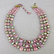 Vintage 3-Strand Crystal Bead Necklace - Pink Aurora Borealis Sparkler