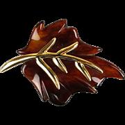 Vintage KJL Kenneth Lane Lucite Goldtone Leaf Pin Brooch