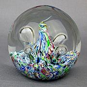 SALE PENDING Caithness Rainbow Moonflower Glass Paperweight Scotland Colin Terris