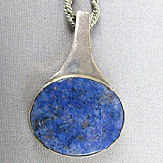 Modernist Sterling Silver Lapis Pendant Necklace Danish Niels Erik From
