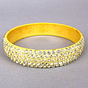 Art Deco Celluloid Bangle Bracelet 5 Rows of Brilliant Rhinestones