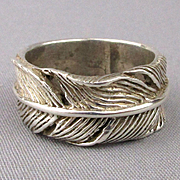 Mens Hefty Sterling Silver Ring Wide Feather Band - 11