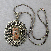 Big Filigree Pendant w/ Coral Jasper Stone on 925 Snake Chain Necklace