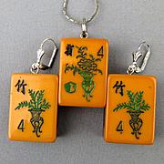 Old 2-Color Bakelite Mah Jong Tiles Pendant Earrings Set