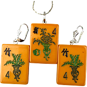 Old 2-Color Bakelite Mah Jong Tiles Pendant Earrings Set