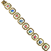 Danish 925 Sterling Silver Enamel Gold Vermeil Bracelet Floral Links 1930s Signed