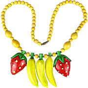 Vintage Carved Wood FRUIT Necklace - Beads Bananas Strawberries