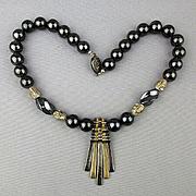 Heavy Sterling Silver Hematite Bead Necklace w/ Hauca Rod Dangles