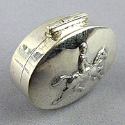 Vintage Sterling Silver Pill Box - Equestrian Horse & Rider