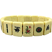 Old Carved Bone Mini Mah Jong Tile Stretch Bracelet