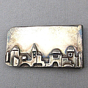 Judaica Sterling Silver Money Clip Israel Jerusalem Skyline Hand Signed