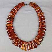 Large Natural Baltic Amber Necklace 124 Grams - 18 Bugs - Museum Quality