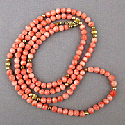 Vintage Angel Skin Coral Long 33 Inch Rope Necklace