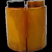 Art Deco Bakelite Marbled Yellow Butterscotch Salt & Pepper Set