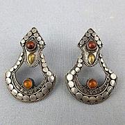 Vintage Sterling Silver Earrings - Balinese w/ Amber
