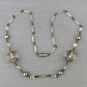 1930s Art Deco Crystal Silver-Tone Necklace - Pretty One