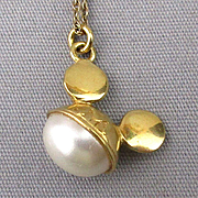 Van Dell Sterling Gold-Filled Mickey Mouse Ears Pendant w/ Real Pearl Necklace