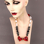 Unique 1980s Lucite Red Bow Bead Necklace