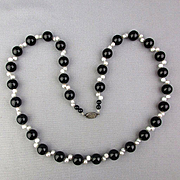 Vintage Black Onyx Bead Necklace w/ Sideways Freshwater Pearls