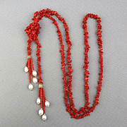 Long Red Coral Sautoir Necklace w/ Pearl 14K Gold Tassels