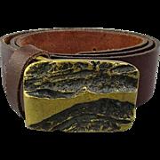 Signed 1960s Bronze Brutalist Belt Buckle on Leather Belt Size 38