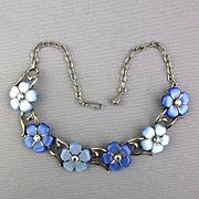 Vintage Thermoset Blue Flower Necklace w/ AB Rhinestones