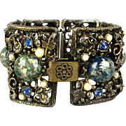 Big Old Wide Jeweled Bracelet w/ Lucite Confetti Balls
