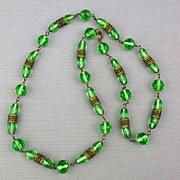 Art Deco Era Czech Glass Bead Necklace w/ Brass Filigree Bands