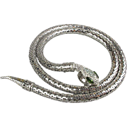 Vintage Whiting & Davis Snake Silver-Tone Mesh Necklace Belt