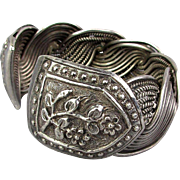 Old Solid Sterling Silver Cuff Bracelet - Artistic Ethnic Rarity