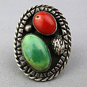 Great Old Navajo Sterling Silver Ring - Big Turquoise / Red Coral