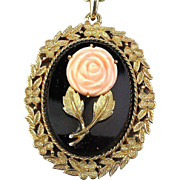Vintage Faux Coral / Onyx Pendant w/ Hidden Mirror by Avon Necklace