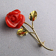 Vintage 18K 750 Gold Red Coral Rose Pin Brooch
