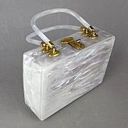 Vintage Pearlized White Lucite Box Handbag Purse