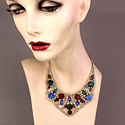 Vintage Multi-Color Rhinestone Collar Necklace 1950s Hollywood