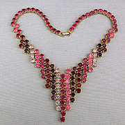 Vintage Dripping Pinks Reds Rhinestone Necklace Geometric ~V~