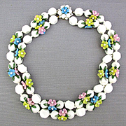 Vintage 2-Strand Flower Spring is Here Necklace Plastic 1950s