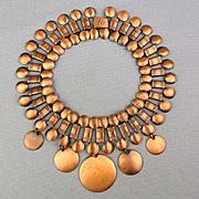 Modernist Wide Copper Necklace w/ Dangles