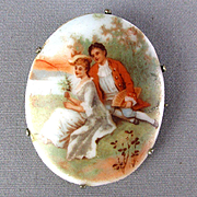 Old Victorian Porcelain Pin Hand-Painted Couple He Has a Fan