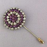 Old Rhinestone Hatpin Hat Stick Pin - Big Head w/ Short Pin