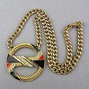 Modernist Signed ART Hinged Rhinestone Pendant Necklace Unique Design