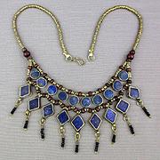 Vintage Ethnic Silver Bead Necklace w/ Blue Lapis Dangles