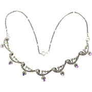 Vintage Sterling Silver Necklace w/ Marcasite - Amethyst